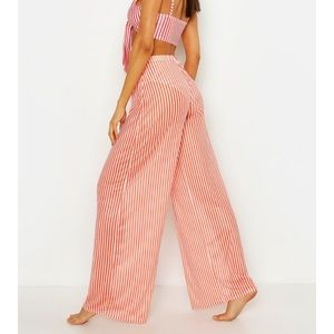 Boohoo red and white striped wide leg pants NWOT